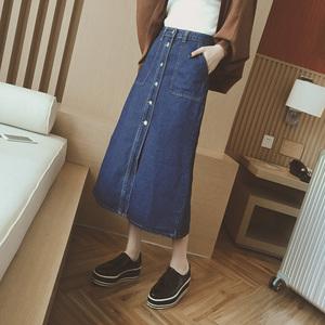 夏季韩国新款高腰a字牛仔半身裙包臀开叉修身显瘦排扣中长裙女潮A字半身裙