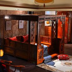 детская кровать 明清仿古古典实木中式家具双人床2米 踏板式穿雕花架子床
