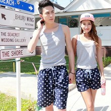 Couple beach pants seaside holiday shorts floral underpants Korean quick drying pants hot pants men's and women's casual pants package