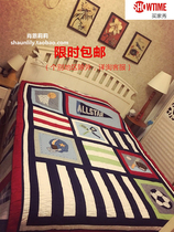 Special American boys room childrens bed cover cotton embroidery hand quilting quilt thick quilt cover by dual-use