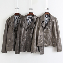 Long sleeve Lapel letter casual men's and women's PU coat leather