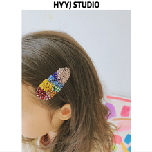 HYYJ STUDIO 18 autumn new girl handmade colorful crystal beaded hairpin color side clip hair accessories