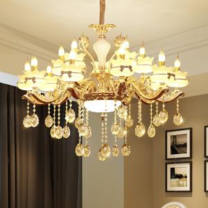 欧式玉石水晶大吊灯锌合金客厅蜡烛水晶灯别墅卧室餐厅复式楼梯灯蜡烛水晶灯