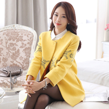 Embroidered double-sided autumn and winter Korean loose medium long woolen coat