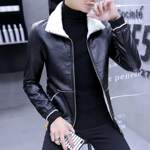 Men's thickened leather coat middle aged men's winter coat with plush fur 30 dad's 40 leather jacket 50 years old