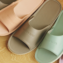 Japanese style spring and summer summer home leather slippers, female indoor couples, home floor, men's summer home slipper bottom slippers