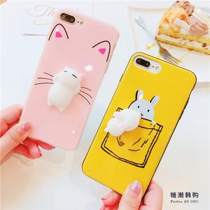 可以揉捏的兔子猫咪苹果7可爱手机壳iphone6/6s/plus软壳8女款8p苹果手机壳