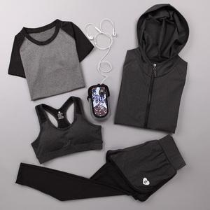 春夏瑜伽服运动套装健身服女四件套速干衣健身房跑步外套长袖长裤运动健身服