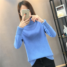 New high collar with loose sweater