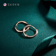ZS earring female 2019 new tide net red rose gold earring buckle 925 pure silver small ear bone nail anti allergy