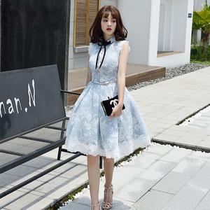 演出婚宴晚礼服2018新款韩版学生中长款聚会名媛女士主持人成人礼女士礼服