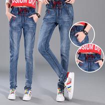 Spring feet high waist elastic waist relaxed leisure pants