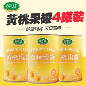 润可滋新鲜糖水黄桃罐头水果罐头特产出口黄桃425g*4罐装多省包邮黄桃罐头