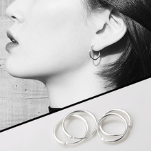 Pure Silver Earrings 2019 New Trendy Men's and Women's Small Circle Trendy Men's Earrings Design Sense