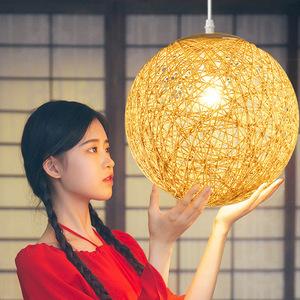 麻球吊灯藤艺球形 创意复古客厅阳台餐厅麻球灯 个性卧室鸟巢灯具复古吊灯