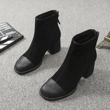 欧洲站2019秋冬新款女鞋圆头粗跟磨砂皮高跟鞋复古短靴百搭马丁靴