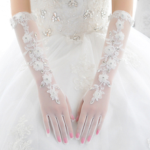 Wedding accessories dress gloves by hollow out simple wedding white lace the bride gloves all long summer