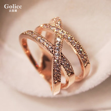 Elegant temperament water diamond with European and American Korean version women's ring Korean fashion personality ring exaggerated women's ring index finger