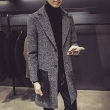 Off season handmade double faced cashmere wool mid long Lapel Korean coat