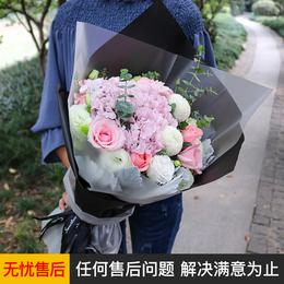 深圳鲜花速递红玫瑰绣球混搭花束广州上海北京杭州生日同城送花店