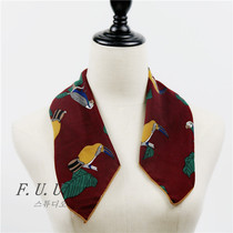 In spring and autumn a small bird printed decorative scarves ladies long scarf Korea winter wild long necktie scarves