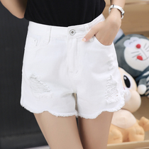 High waist white hole is the Korean version of slim thin student shorts