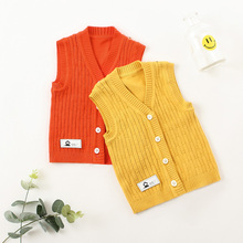 Boys and girls' wool vest baby cotton sweater cardigan vest children's thin waistcoat spring and autumn clothing