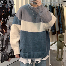 Autumn and winter 2019 New Retro contrast round neck sweater men's loose fit knitwear trend Korean sweater