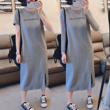Short sleeve dress women 2019 new casual belly-covering large-size loose medium-length T-shirt skirt with open knee
