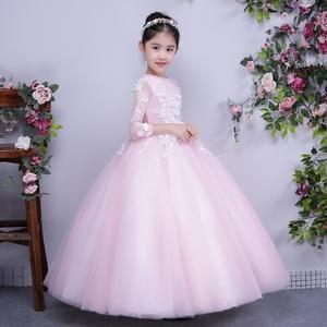 六一儿童礼服公主裙花童走秀礼服女童婚纱裙主持人晚礼服蓬蓬裙夏女童礼服