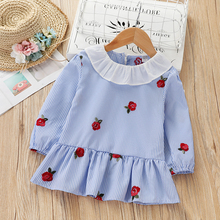 Children's dress 2019 spring and autumn clothes Korean version baby's embroidered stripe top small children's little girl's skirt