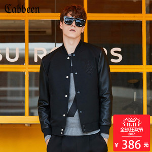 卡宾男装拼接修身夹克黑色青年休闲棒球服短外套潮2017秋B棒球衫