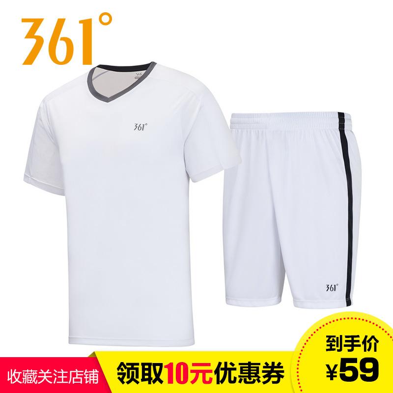 361°361度官方正品男装2018夏季新款潮流时尚拼色运动套装T恤短裤两件