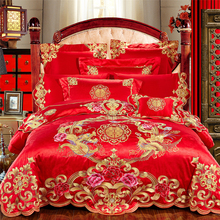 Dragon and Phoenix embroidery embroidered wedding red four sets of wedding bedding cotton Wedding SATIN 68 sets of home textiles