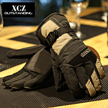 Warm waterproof man winter ski gloves male winter ms black ride motor bike and thicken cotton gloves