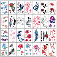 Rose Tattoo Sticker large waterproof female durable stomach cesarean scar mask body painting