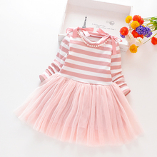 Girls' dress 2019 new autumn children's air princess skirt girls' long sleeve knitted middle and small children's skirt