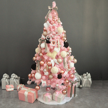 1.5m pink flocking Christmas tree package Champagne Gold Christmas net red ins1.2m 1.8m window decoration