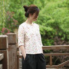 Блузка в китайском национальном стиле 【时间的果】】【时光与禅高级定制】草莓花中式上衣