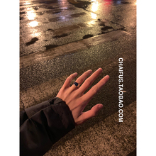 Chaifu Studio/J126 Simple Hong Kong Style Individuality Refers to Small Crowd Ring Stainless Steel Couple Ring for Men and Women