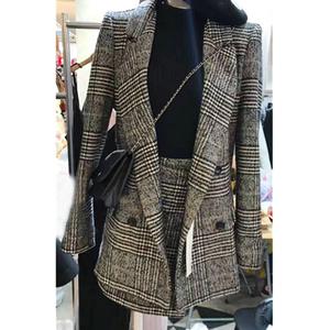 【天天特价】2017秋季新款气质显瘦千鸟格子西装外套A字裙套装女西装