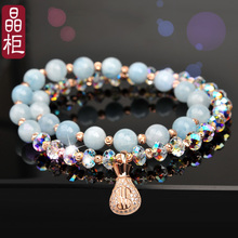Crystal cabinet original crystal bracelet, female natural sea blue treasure 925 silver Sen system Korean version simple personality hand string jewelry