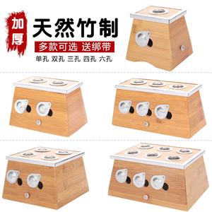 加厚竹制双孔艾灸盒艾灸器具温灸器2孔2柱艾条盒艾柱盒艾灸仪器艾灸盒