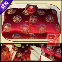 五领三腰全套寿衣 高档男女寿衣七件套枣红色 全套配件 正品包邮