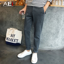 Korean version of the slim solid color trends in the fall youth long pants
