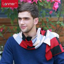 Lanmer mens warm winter scarf cashmere Plaid scarf snood Korean fashion trends winter
