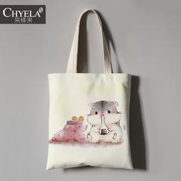 软萌治愈系可爱卡通肥仓鼠Q版图案帆布包手提环保购物拎袋定制做