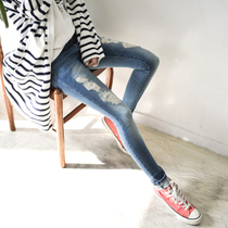 An new students in spring and summer some of the left bank feet pants ripped jeans cotton slim beggar children Korean version