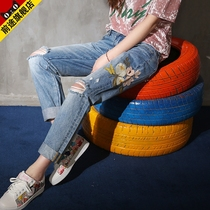 Spring loose holes in Korean embroidery curling straight jeans