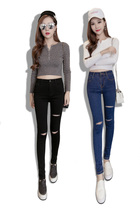 High waist hole in the Korean version of the slim slim skinny jeans
